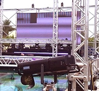 Stage and truss for FRESH party, soul and motown live music band from Majorca