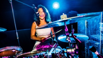 drummer girl of FRESH party, soul and motown live music band Majorca